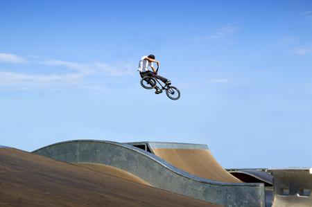 High BMX jump in a skate park