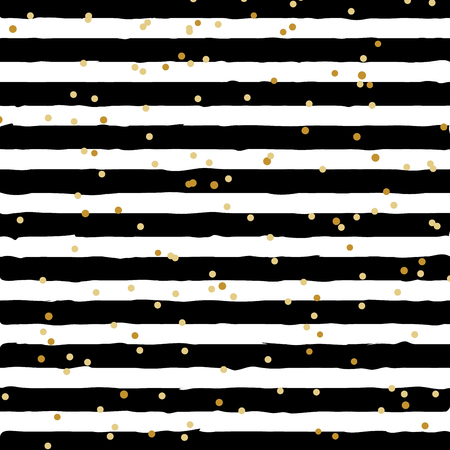 Illustration pour Abstract black and white striped on trendy background with random gold foil dots pattern. You can use for greeting card or wrapping paper, textile, packaging, etc. Vector illustration - image libre de droit