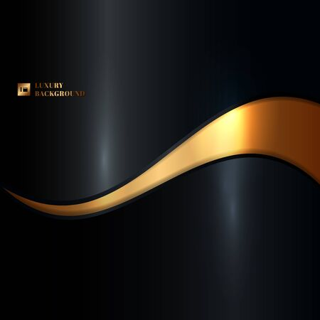 Illustration pour Abstract glowing gold wave on black background luxury style. Vector illustration - image libre de droit