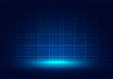 Ilustración de Abstract blue grid perspective design background with lighting. High technology lines landscape connect of future. Vector illustration - Imagen libre de derechos