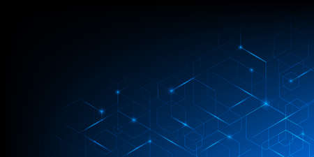 Illustration pour Abstract geometric blue lines on dark blue background with lighting effect. Modern technology futuristic digital patterns. Hexagon geometry structure. Vector illustration - image libre de droit