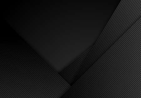 Illustration pour Abstract black stripes diagonal with lines layered on dark background and texture. Vector illustration - image libre de droit