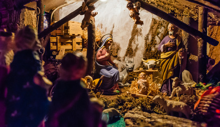 Photo for Birth of Jesus in the manger in a typical italian Presepe - Royalty Free Image