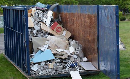 Dumpster with construction debris