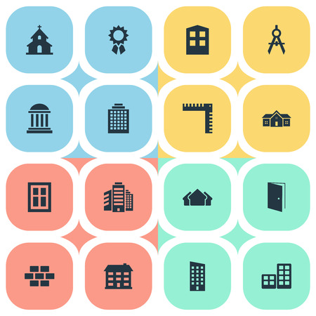 Set Of 16 Simple Construction Icons. Can Be Found Such Elements As Superstructure, Glazing, Flat And Other.