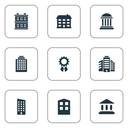 Set Of 9 Simple Construction Icons. Can Be Found Such Elements As Booth, Floor, Superstructure And Other.