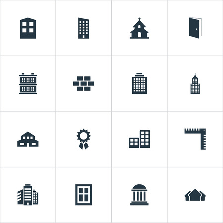 Set Of 16 Simple Construction Icons. Can Be Found Such Elements As Floor, Structure, Superstructure And Other.