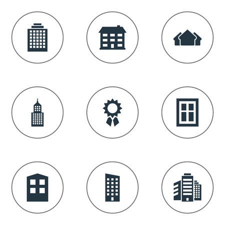 Vector Illustration Set Of Simple Construction Icons. Elements Floor, Superstructure, Offices And Other Synonyms Building, Construction And Architecture.