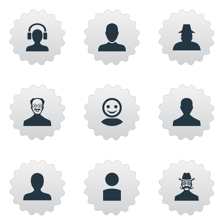 Vector Illustration Set Of Simple Human Icons. Elements Insider, Male With Headphone, Agent And Other Synonyms Worker, User And Internet.