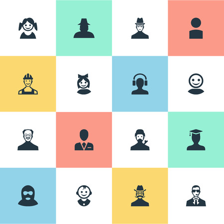 Vector Illustration Set Of Simple Member Icons. Elements Felon, Girl Face, Mysterious Man And Other Synonyms Insider, Graduate And Offender.