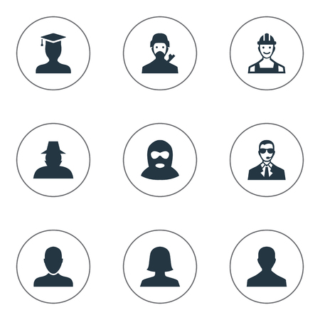 Vector Illustration Set Of Simple Member Icons. Elements Woman User, Agent, Postgraduate And Other Synonyms Avatar, User And Postgraduate.