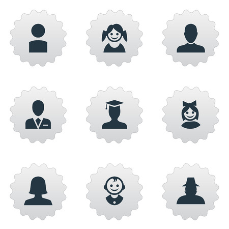 Vector Illustration Set Of Simple Avatar Icons. Elements Insider, Postgraduate, Girl Face And Other Synonyms Graduate, Business And Student.