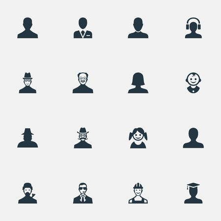 Vector Illustration Set Of Simple Avatar Icons. Elements Woman User, Portrait, Workman And Other Synonyms Daughter, Graduate And Young.