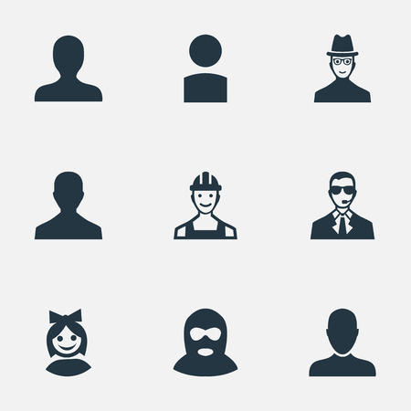 Vector Illustration Set Of Simple Human Icons. Elements Insider, Portrait, Job Man And Other Synonyms Business, Hat And Culprit.