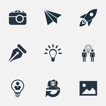 Vector Illustration Set Of Simple Creative Thinking Icons