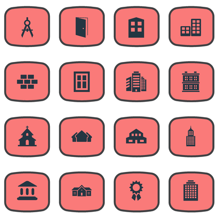 Vector Illustration Set Of Simple Construction Icons. Elements Structure, Shelter, Popish And Other Synonyms Superstructure, Architecture And Apartment.