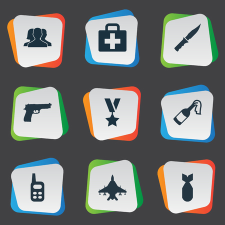Vector Illustration Set Of Simple Battle Icons. Elements Cold Weapon, Outcast, Medical Kit And Other Synonyms Fighter, Radio And Outcast.