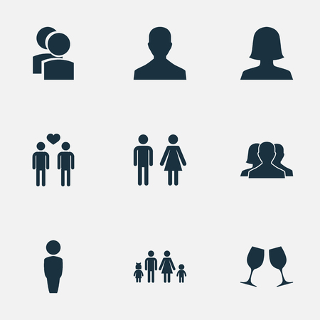 Vector Illustration Set Of Simple Beloved Icons. Elements Gay, Wineglass, Double And Other Synonyms Friends, Father And Divorce.