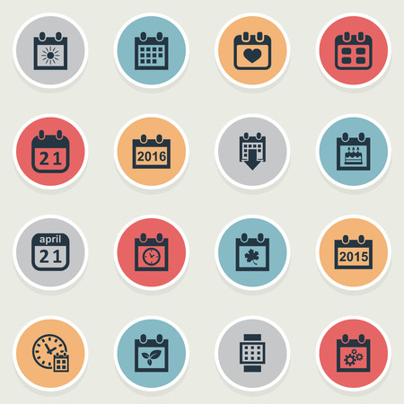 Vector Illustration Set Of Simple Calendar Icons  Elements Planner