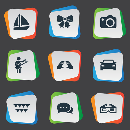 Vector Illustration Set Of Simple Party Icons. Elements Correspondence, Guitar Player, Automobile And Other Synonyms Celebration, Correspondence And Cake.