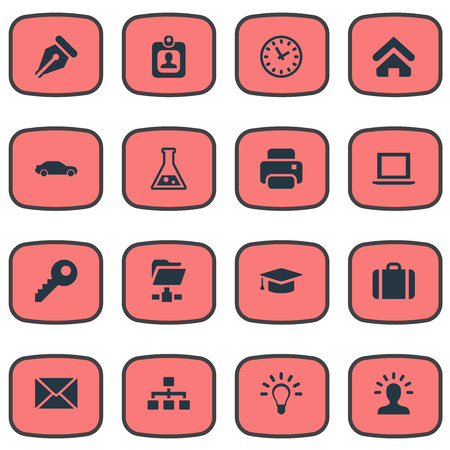 Vector Illustration Set Of Simple Commerce Icons. Elements Password, Bulb, Automobile And Other Synonyms Degree, Ink And Nib.