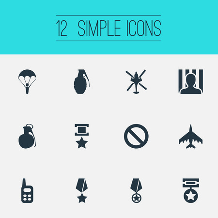 Vector Illustration Set Of Simple War Icons. Elements Jailer, Copter, Medal And Other Synonyms War-Plane, Prisoner And Grenade.