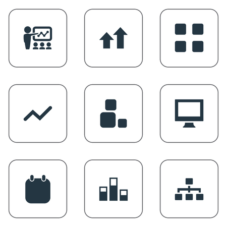 Vector Illustration Set Of Simple Training Icons. Elements Vector, Structure, Increase And Other Synonyms Organization, Day And Blocks.