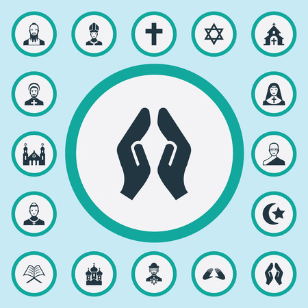 Illustration pour Vector Illustration Set Of Simple Faith Icons. Elements Temple, Chaplain, Muslim And Other Synonyms Pope, Koran And David. - image libre de droit