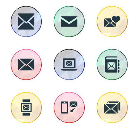 Illustration Set Of Simple Mail Icons. Elements Notepad, Correspondence, Mail With Heart And Other Synonyms Laptop, Valentine And Correspondence.
