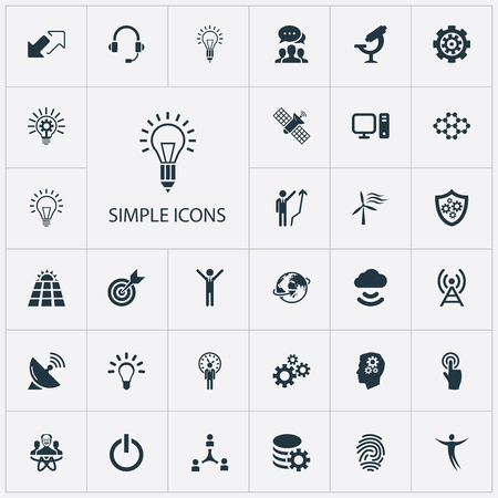 Ilustración de Vector Illustration Set Of Simple Creativity Icons. Elements Optical Instrument, Deadline, Target And Other Synonyms Energy, Shield And Creativity. - Imagen libre de derechos