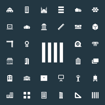 Illustration pour Vector Illustration Set Of Simple Structure Icons. Elements Menu, Islamic Monument, Whiteboard And Other Synonyms Residential, Construction And Stone. - image libre de droit