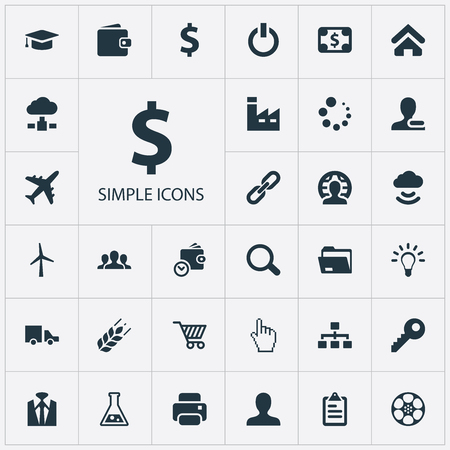 Illustration Set Of Simple Trade Icons. Elements Purse, Client, Firm And Other Synonyms Wireless, Database And Purse.