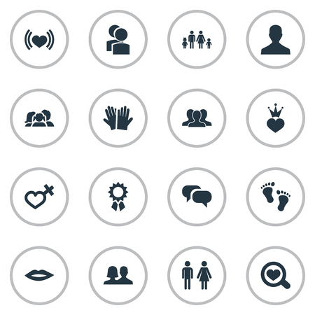 Vector Illustration Set Of Simple Lovers Icons. Elements Barefoot, Lineage, User And Other Synonyms Female, Romantic And Friends.