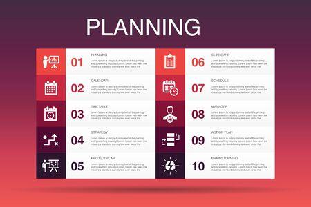 Illustration pour planning Infographic 10 option template.calendar, schedule, timetable, Action Plan simple icons - image libre de droit