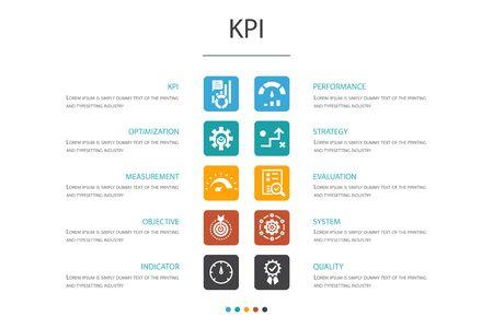 Illustration pour KPI Infographic 10 option concept.optimization, objective, measurement, indicator simple icons - image libre de droit