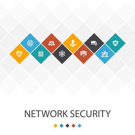 Illustration pour network security trendy UI template infographics concept.private network, online privacy, backup system, data icons - image libre de droit