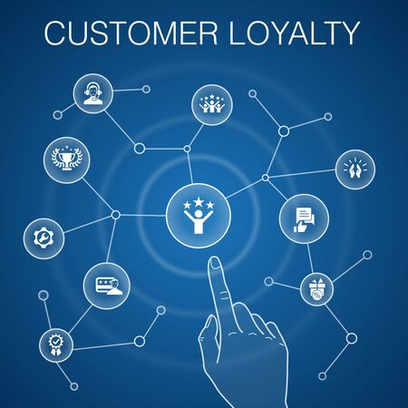 Illustration for Customer Loyalty concept, blue background.reward, feedback, satisfaction, quality simple icons - Royalty Free Image