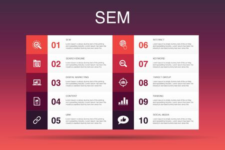 Illustration pour SEM Infographic 10 option template. Search engine, Digital marketing, Content, Internet icons - image libre de droit