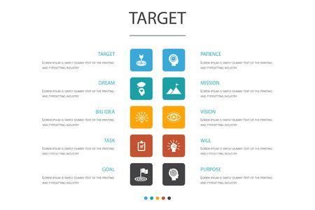 Vektor für target Infographic 10 option concept.big idea, task, goal, patience icons - Lizenzfreies Bild