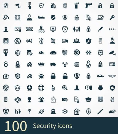 Ilustración de security 100 icons universal set for web and UI - Imagen libre de derechos