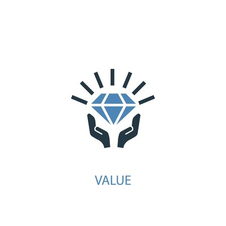 Vektor für value concept 2 colored icon. Simple blue element illustration. value concept symbol design. Can be used for web and mobile - Lizenzfreies Bild