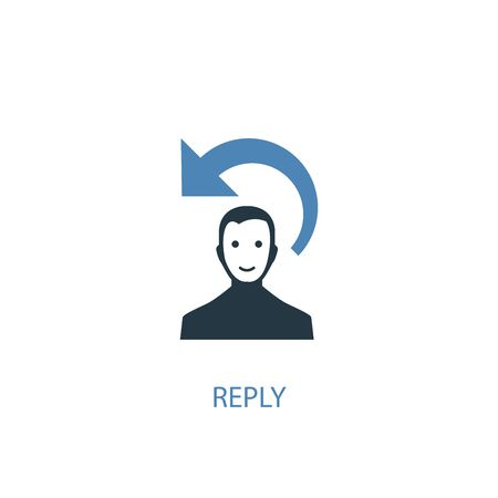 Illustration pour reply concept 2 colored icon. Simple blue element illustration. reply concept symbol design. Can be used for web and mobile - image libre de droit