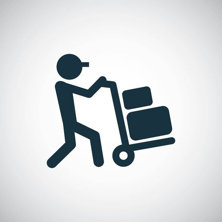Illustration for worker trolley icon trendy simple symbol concept template - Royalty Free Image