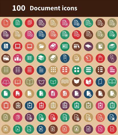Illustration pour document 100 icons universal set for web and UI - image libre de droit