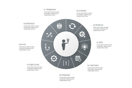 Illustration pour Solution Infographic 10 steps circle design.strategy, plan, execution, timetable icons - image libre de droit