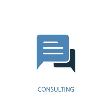 Illustration pour Consulting concept 2 colored icon. Simple blue element illustration. Consulting concept symbol design. Can be used for web and mobile UI - image libre de droit