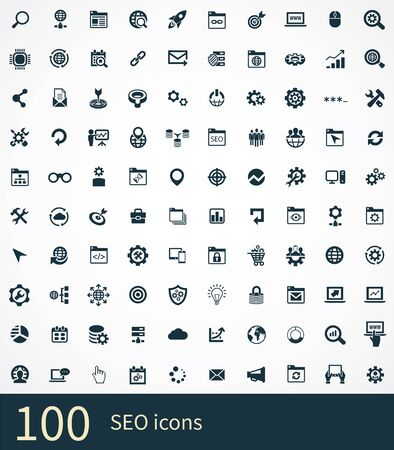 Illustration for seo 100 icons universal set for web and UI. - Royalty Free Image