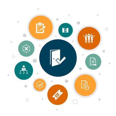 Illustration pour Admission Infographic 10 steps bubble design. Ticket, accepted, Open Enrollment, Application icons - image libre de droit