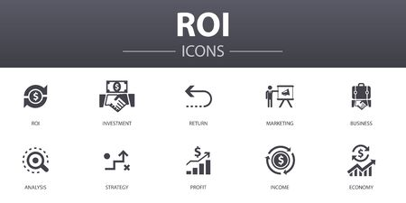 Ilustración de ROI simple concept icons set. Contains such icons as investment, return, marketing, analysis and more, can be used for web - Imagen libre de derechos