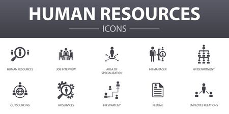 Illustration pour Human Resources simple concept icons set. Contains such icons as job interview, hr manager, outsourcing, resume and more, can be used for web - image libre de droit